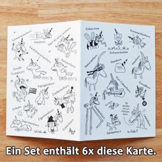 Einhorn Grußkarten-Set islieb Comics