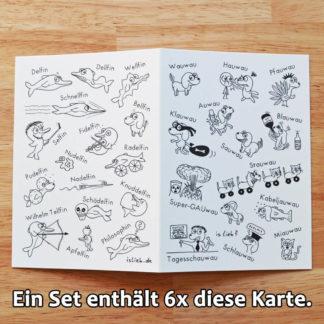 Wauwaus Delfine Grußkarten-Set islieb Comics